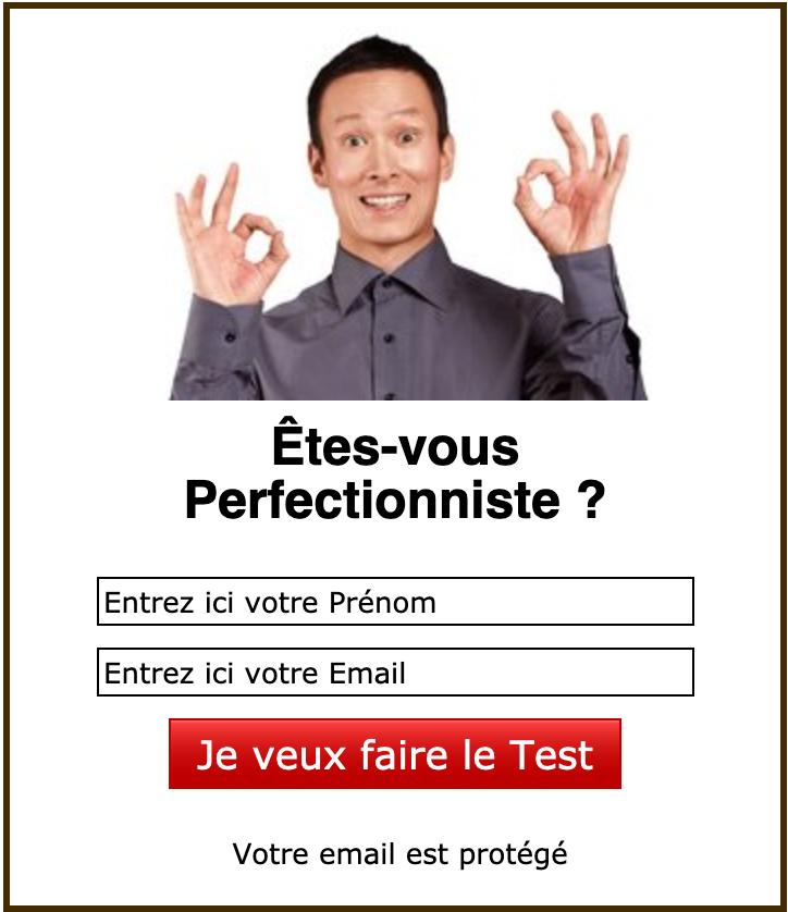 Formulaire d'inscription au Test du Perfectionnisme